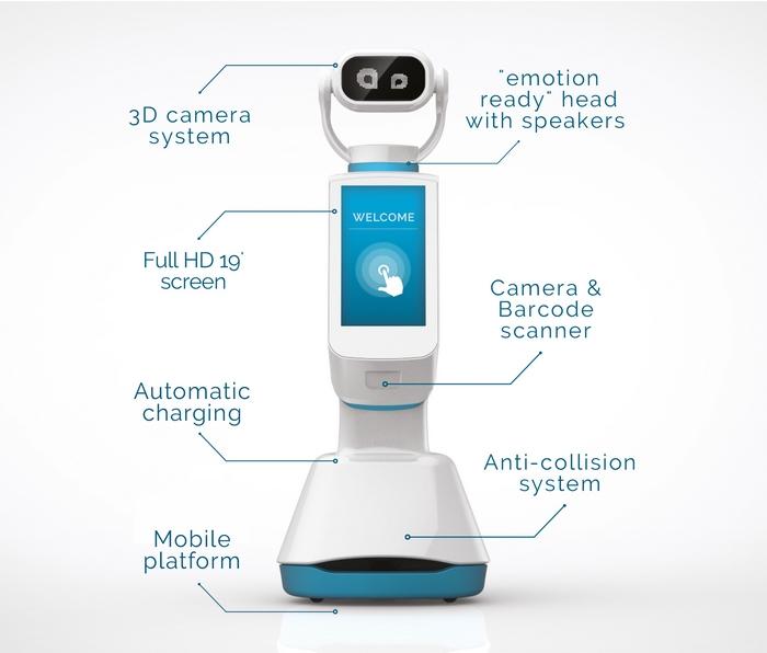 Heasy, le 1er robot kiosque interactif avec terminal de paiement intégré