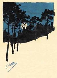 Camille Martin (1861-1898)     Paysage de sous-bois de nuit (bleu) (c) Nancy, musée lorrain