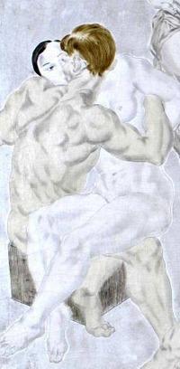 Léonard Foujita     Composition au chien, panneau gauche du diptyque, Grande composition, Huile sur toile, 300 x 300 cm© Adagp, Paris 2010, Collection Conseil Général de l'Essonne, Maison-atelier Foujita, Villiers-le- Bâcle © Photo : Laurence Goda