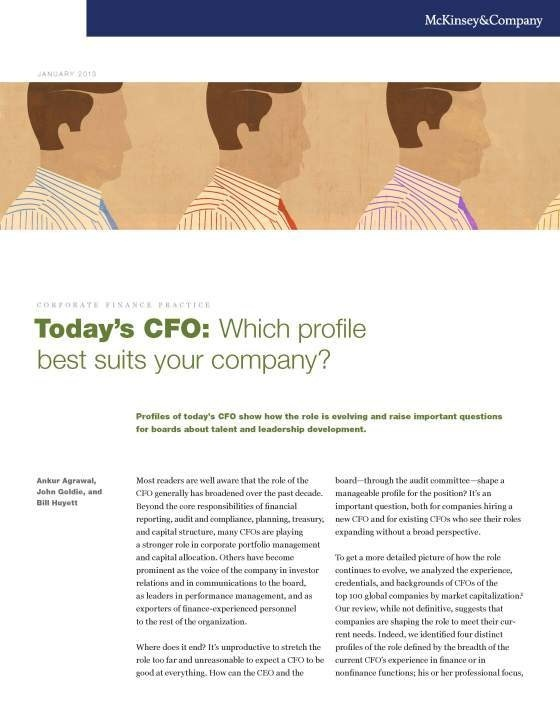 Different companies need different CFOs