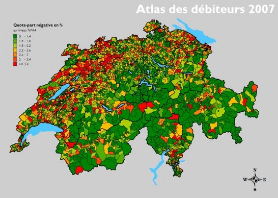Atlas des débiteurs en Suisse 2007
