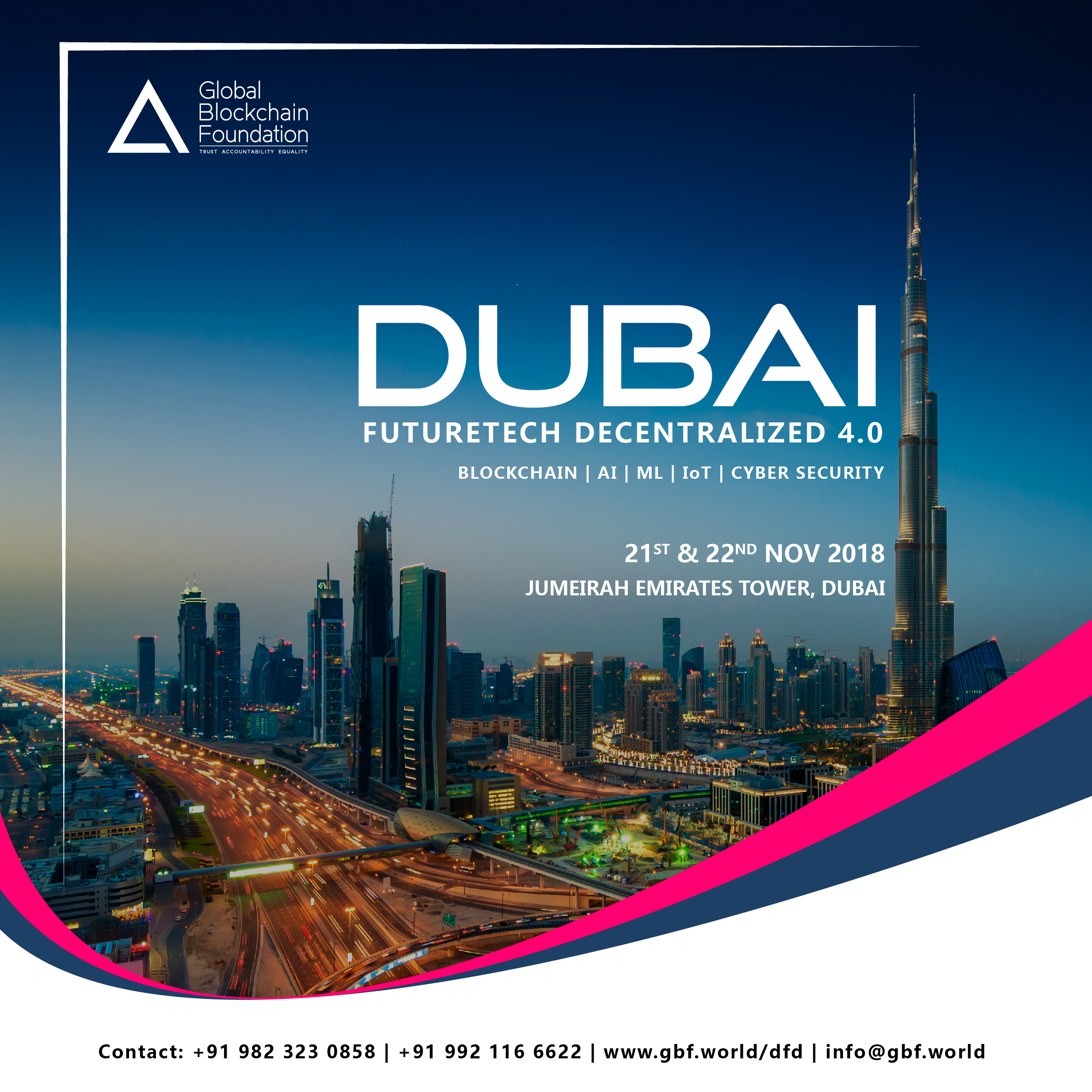 The Global Blockchain Foundation Welcomes you for the Dubai Future-Tech Decentralized 4.0 on the 21th & 22th of November
