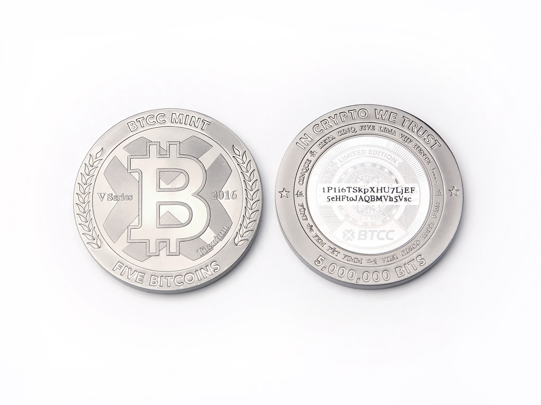 BTCC Launches Five Bitcoin Titanium Coin on Fifth Anniversary